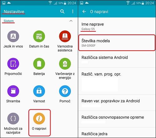 V 2-eh korakih do modela telefona pri SAMSUNG napravah.